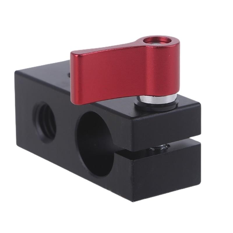 Abrazadera de varilla única un adaptador de zapata fría bloque de riel de cámara DSLR para micrófono de luz LED de montaje de Mo