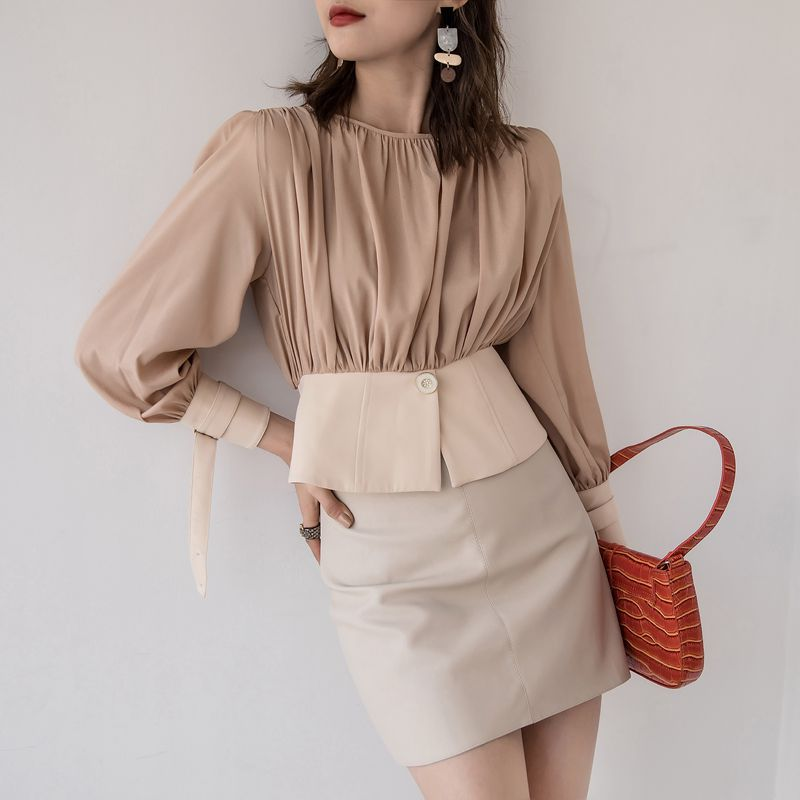 Women Chic Blouses 2020 Fashion Long Sleeve Round Collar Office Shirt Casual Stitching Pleated Tops Plus Size Blusas Femininas
