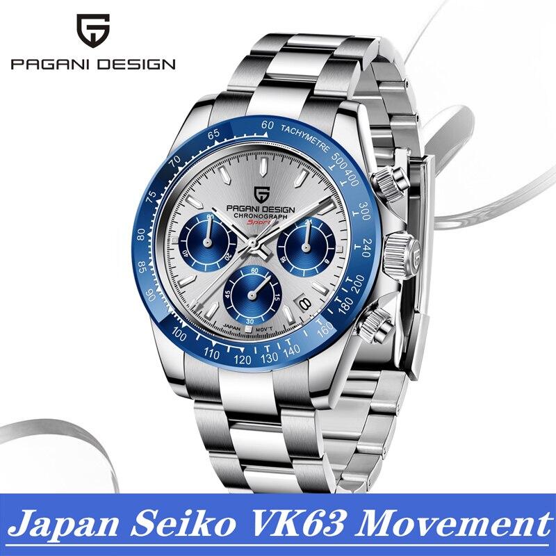 2020 PAGANI diseño de moda Casual reloj de lujo para hombres relojes de cuarzo azul reloj cronógrafo impermeable 100M Wrsitwatch
