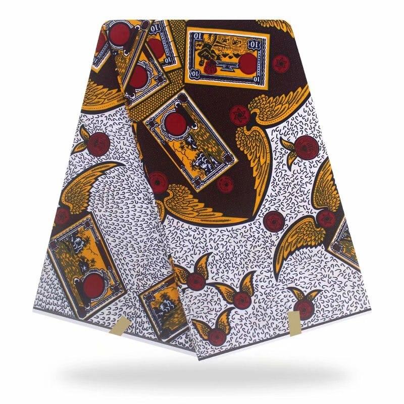100%Soft Dress Sewing Material Nigerian Wax Prints Fabric Cotton Veritable Soft Ankara Wax Block Printed Fabric 6 Yards HL19-16