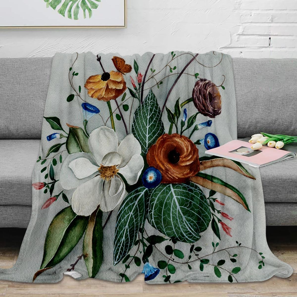 مودي ماغنوليا ترتيب رمي بطانية بطانية ناعمة دافئة الفانيلا بطانية ديكور غرفة نوم البطانيات ل أريكة تتحول لسرير