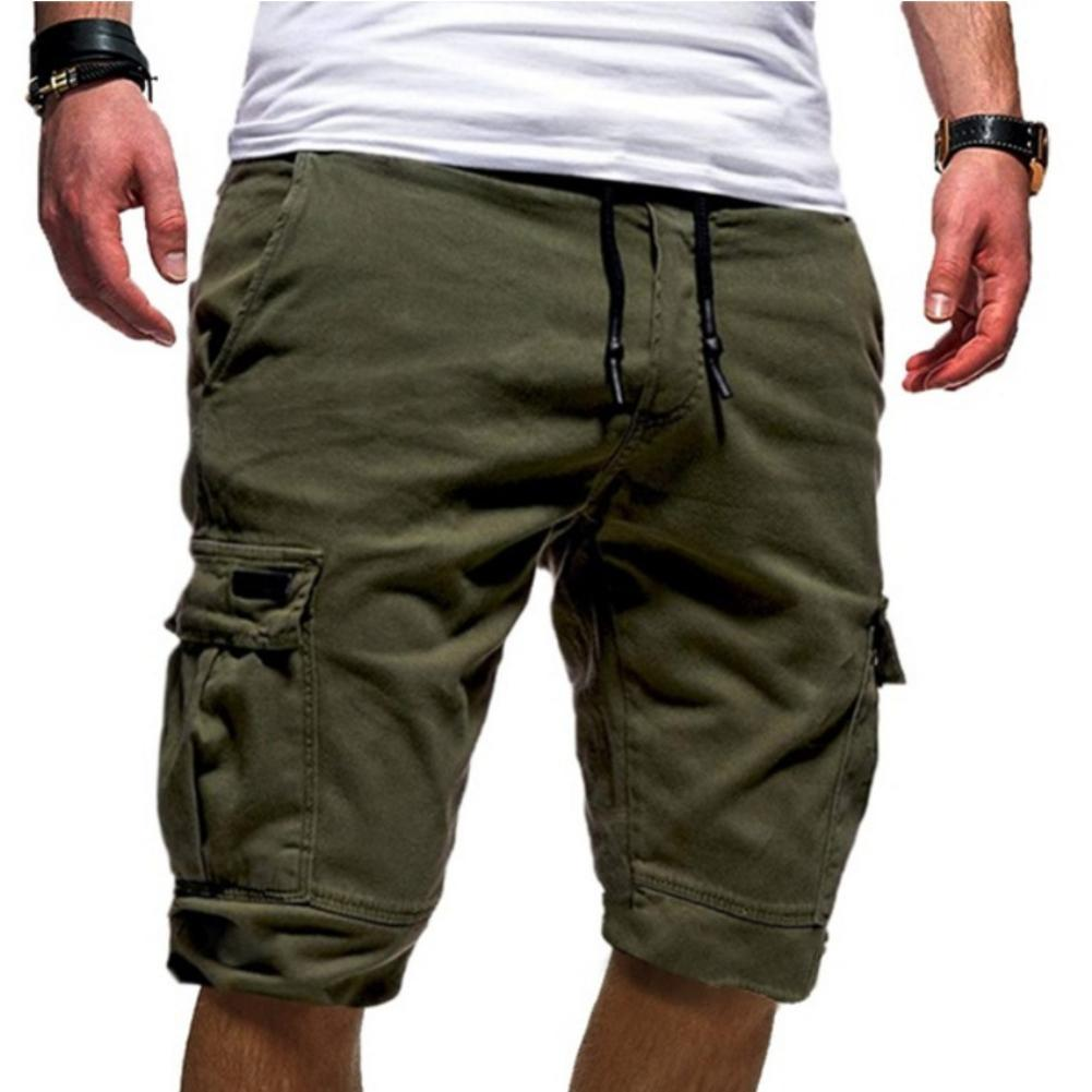 Men Stylish Summer Solid Color Multi Pockets Drawstring Fifth Pants Beach Shorts недорого