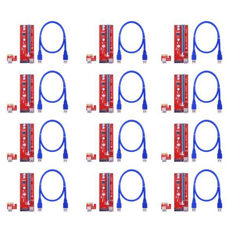 12 قطعة VER007S PCI-E الناهض بطاقة 007S PCIE 1X إلى 16X موسع 15Pin SATA الطاقة 60 سنتيمتر USB 3.0 كابل ل BTC LTC التعدين التعدين