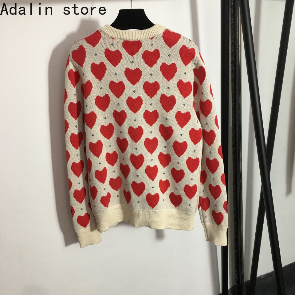2021 high quality autumn new fashion women's love letter round neck long sleeve Pullover knitted sweater enlarge