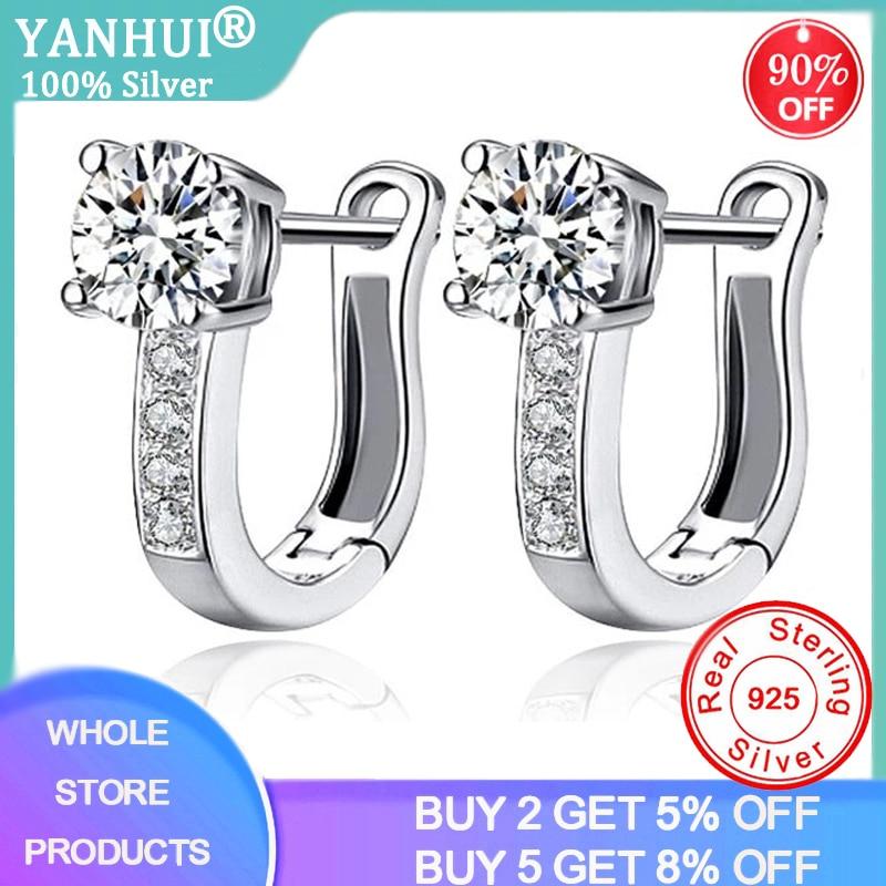 YANHUI Silver 925 Earrings Round Small Drop Earrings For Women Cubic Zircon Stone Earrings Wedding Brides Fashion Jewelry E243