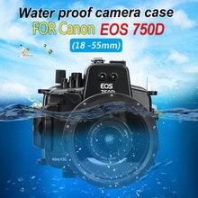Étui de caméra sous-marin 40M pour Canon EOS 750D 760D boîtier de caméra de plongée avec objectif 18-55mm 18-135mm 1PC