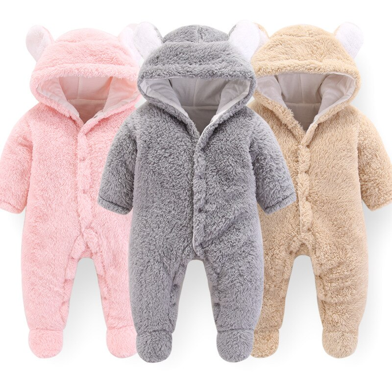 Newborn Baby Winter Clothes Outerwear Rompers Infant Boys Girls Soft Fleece Jumpsuit Thicken Pajamas Playsuit
