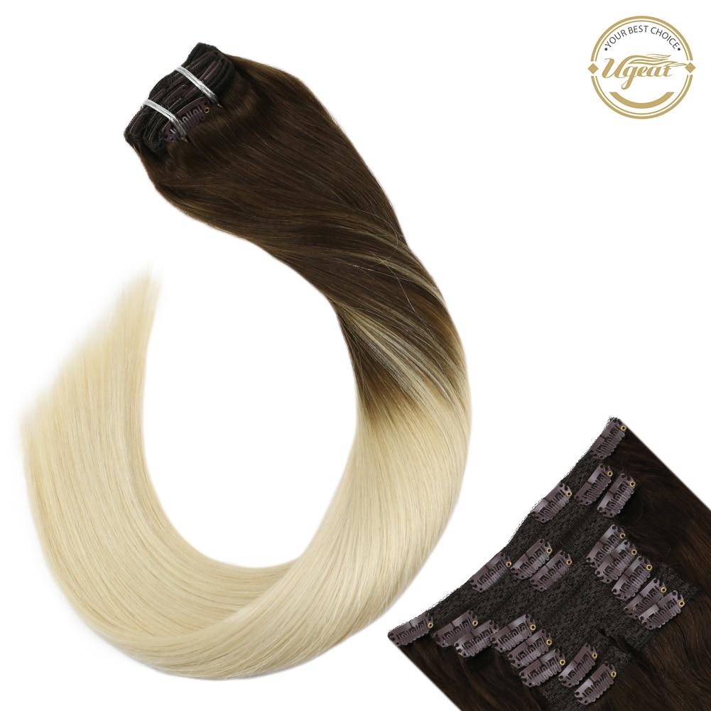 """Grampo de ugeat em extensões do cabelo 120g/10 tramas grossas do cabelo da extremidade completa 14-24 """"grampo de cor loira no cabelo para o cabelo de remy da máquina feminina"""