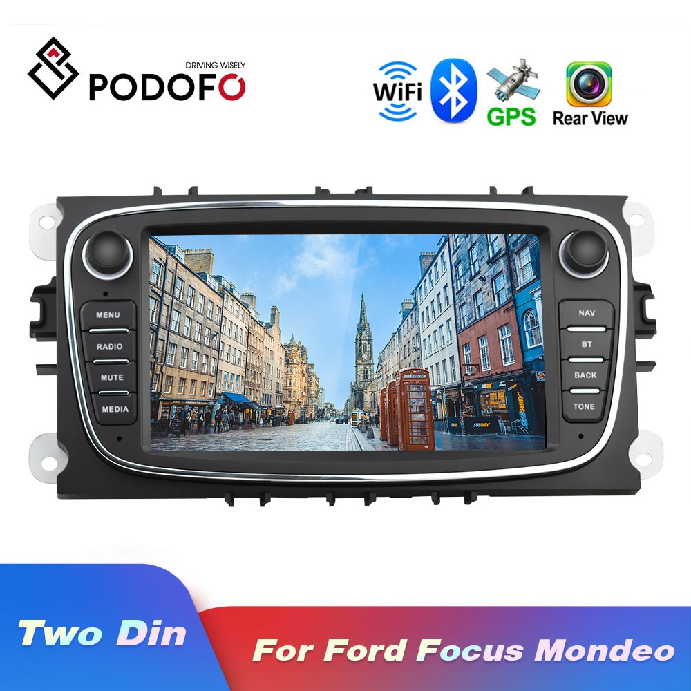 Podofo Android 8.1 GPS Car Radios 2 Din Car Multimedia player 7'' Audio DVD Player For Ford/Focus/S-