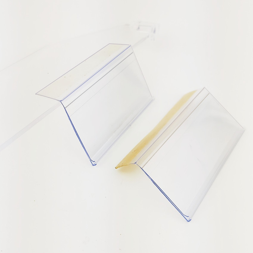 Plastic PVC Shelf Data Strips Merchandise Price Talkers Sign Display Label Card Holder with Adhesive Tape on Store Rack 50pcs