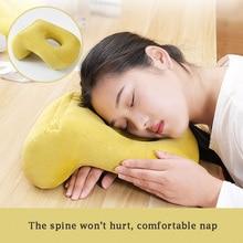 Solid color hollow design Desk nap pillow filling PPcotton Neck Supporter Seat Cushion Headrest Travel Neck Pillow with Arm Rest