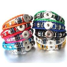 Hot Sale Snap Button Bracelet Rivet Snap Leather Bracelet Retro Handmade Braided Leather Bracelet fit 18MM Snap buttons jewelry