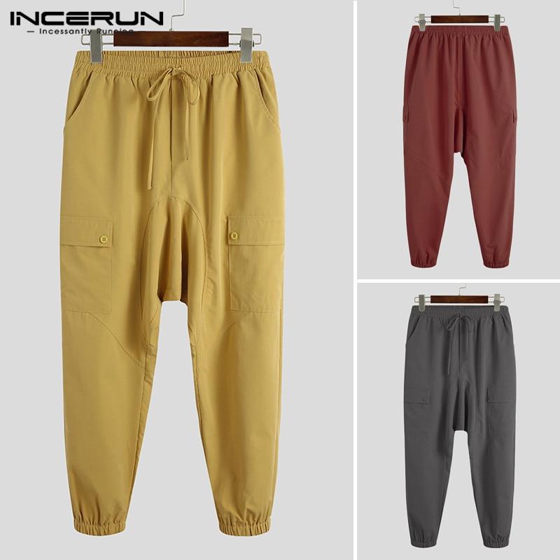 INCERUN Man Multi Pockets Pantalones Streetwear Fashion Men Pants Solid Drop Crotch Trousers Drawstring Cargo Joggers Plus Size