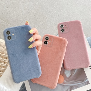 Ice Velvet Flannel Cloth Phone Case for iPhone SE2020 7 8 Plus X Xs Max XR 11 Pro Max 12 Mini Phone Shell Cover