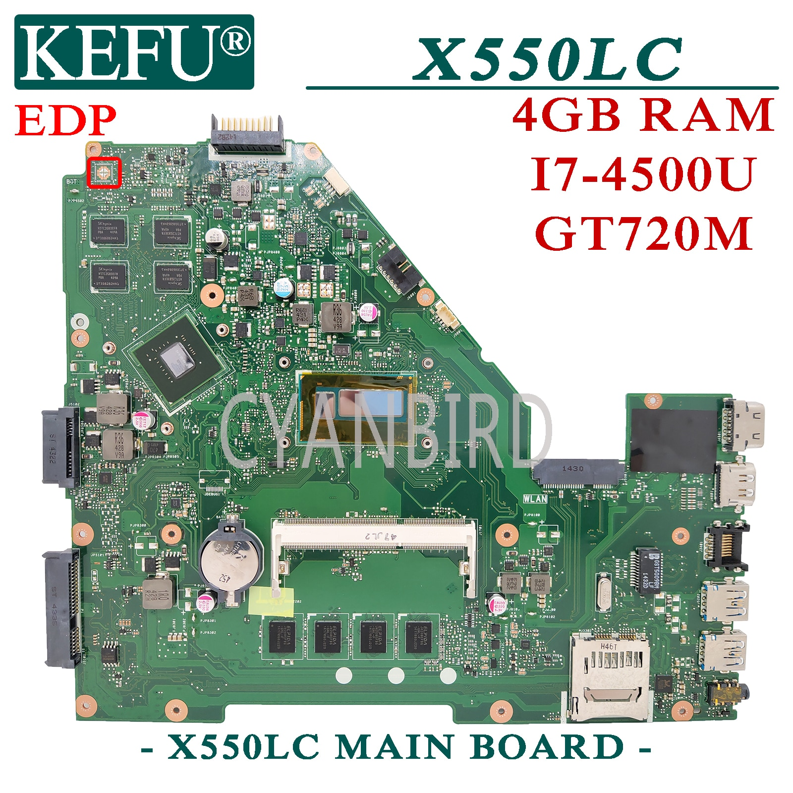 KEFU X550LC الأصلي اللوحة الرئيسية ل ASUS X550LC X550LD X550LN X550L مع I7-4500U GT720M EDP اللوحة الأم للكمبيوتر المحمول