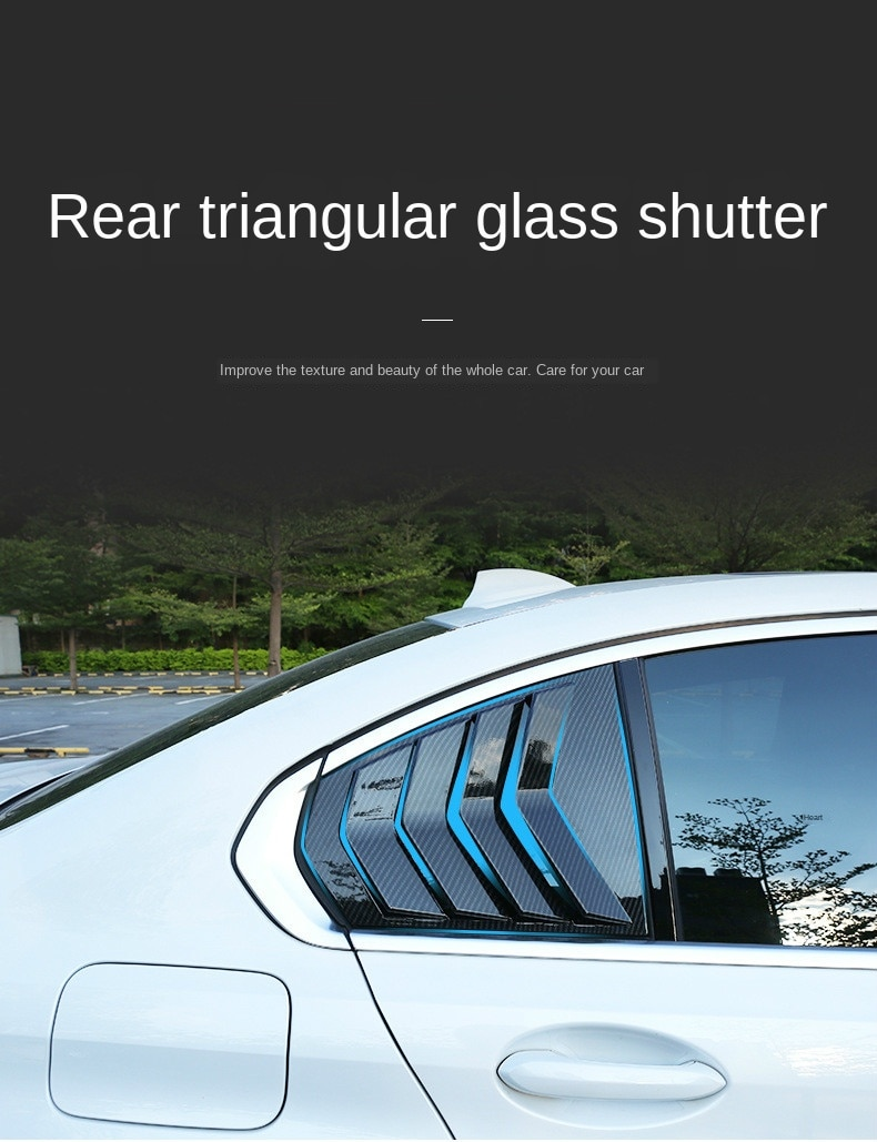 Car Styling For BMW 3 Series G28 Rear Window Triangle Shutters decoration panel Cover Sticker Trim Carbon fiber Auto Accessories