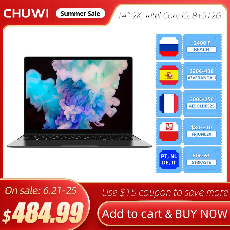 Gaming Laptop, CHUWI CoreBook X, Intel Core i5-8259U, 14 Inch, 2160x1440 Resolution, DDR4 8GB, 512GB SSD, Winddows 10, USB-C