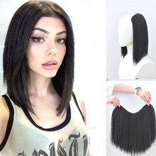 Synthetic Natural Clips in Hair Extensions for women invisible u-type halo extension fake false wigs 18+ MUMUPI