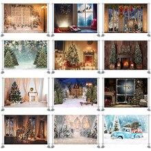 التصوير خلفية أشجار عيد الميلاد نافذة إكليل الشتاء الثلوج خلفية منزل خشبي التصوير الفوتوغرافي التصوير الدعامة مخصص كشك الصور