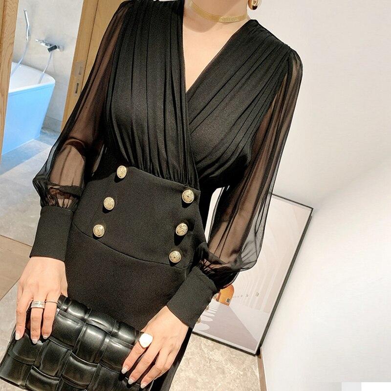 Alta calidad OL elegante cuello pico bodycon mini vestido botones perspectiva linterna manga patchwork slim vestidos blanco negro y636