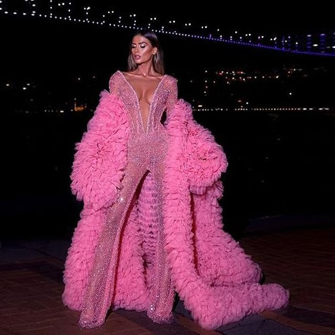 Fashion Pink Chic Puffy Ruffles Tiered Tulle Long Robes Women 2020 Full Sleeves Floor Length Tops Women Open Jacket Custom Made