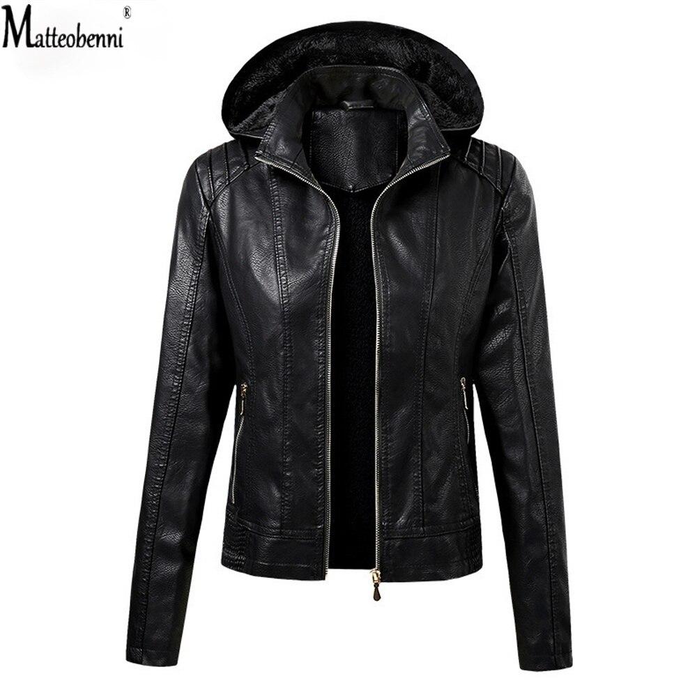 Женская куртка из искусственной кожи с капюшоном, зимняя теплая мотоциклетная куртка кофейного и черного цвета, модная куртка с капюшоном, ...