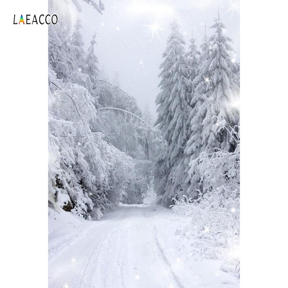 Laeacco sonhador inverno neve floresta árvores maneira cena fotografia fundos para estúdio de fotografia vinil personalizado cênica backdrops