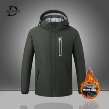 2021 New Men Smart Heating Parkas Outwear Fashion Men's Hooded Parka Jackets Fleece Thickened Warm M