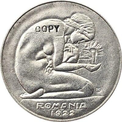 1921 Roménia 5 Lei moedas CÓPIA 23mm Três tipos {de Cobre de níquel, níquel, latão}