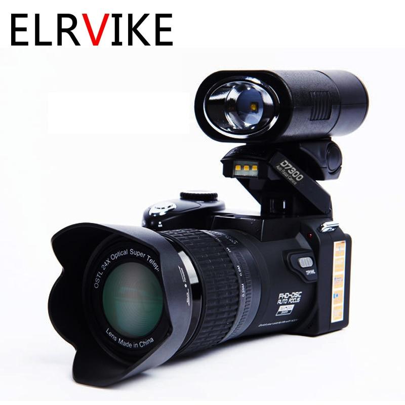 ELRVIKE-كاميرا رقمية احترافية مع تركيز تلقائي ، POLO D7300 ، 33 مليون بكسل ، كاميرا فيديو SLR ، تقريب بصري 24X ، 3 عدسات عالية الدقة