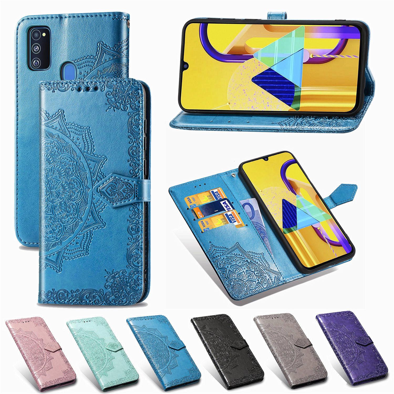 Para Galaxy M31 SM-M315F Funda de cuero 3D flor en relieve Cartera de cuero Flip Case On para Samsung Galaxy M30 SM-M305 M30S SM-M307
