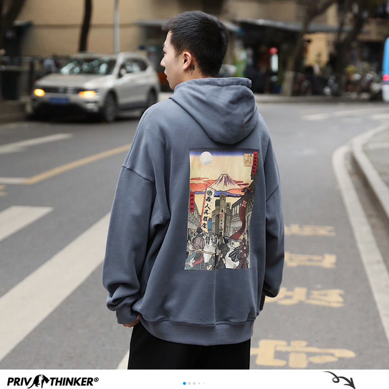 Privathinker harajuku chinês impresso hoodies 2020 outono masculino casual solto com capuz moletom pullovers