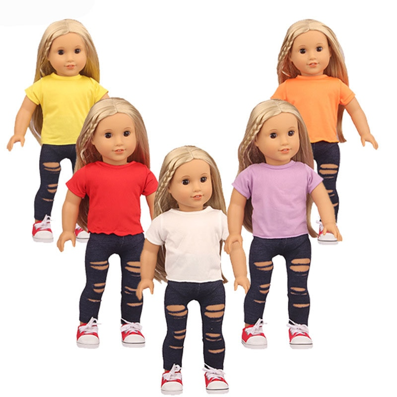 2021 New Baby New Born Fit 18 inch Doll Clothes Accessories Solid Color T-shirt Ripped Pants Clothes