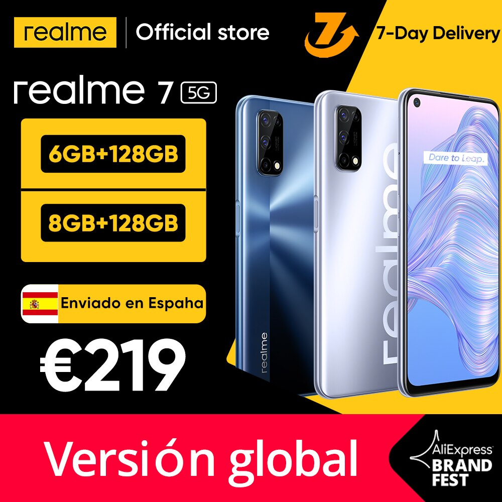 【Ship from Spain 3 Days arrivals】realme 7 5G Dimensity 800U Smartphone 6GB 128GB 120Hz Display 4