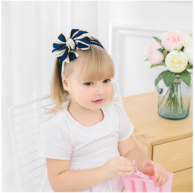 Nuevas diademas para bebé, cintas elásticas de nailon con lazo a rayas brillantes, diademas para niñas, accesorios para el cabello para bebés
