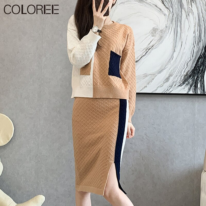 Korean Fashion Fall Winter Clothes for Women 2021 Casual Two Piece Suits Outfits Long Sleeve Knitted Top and Midi Skirt Set