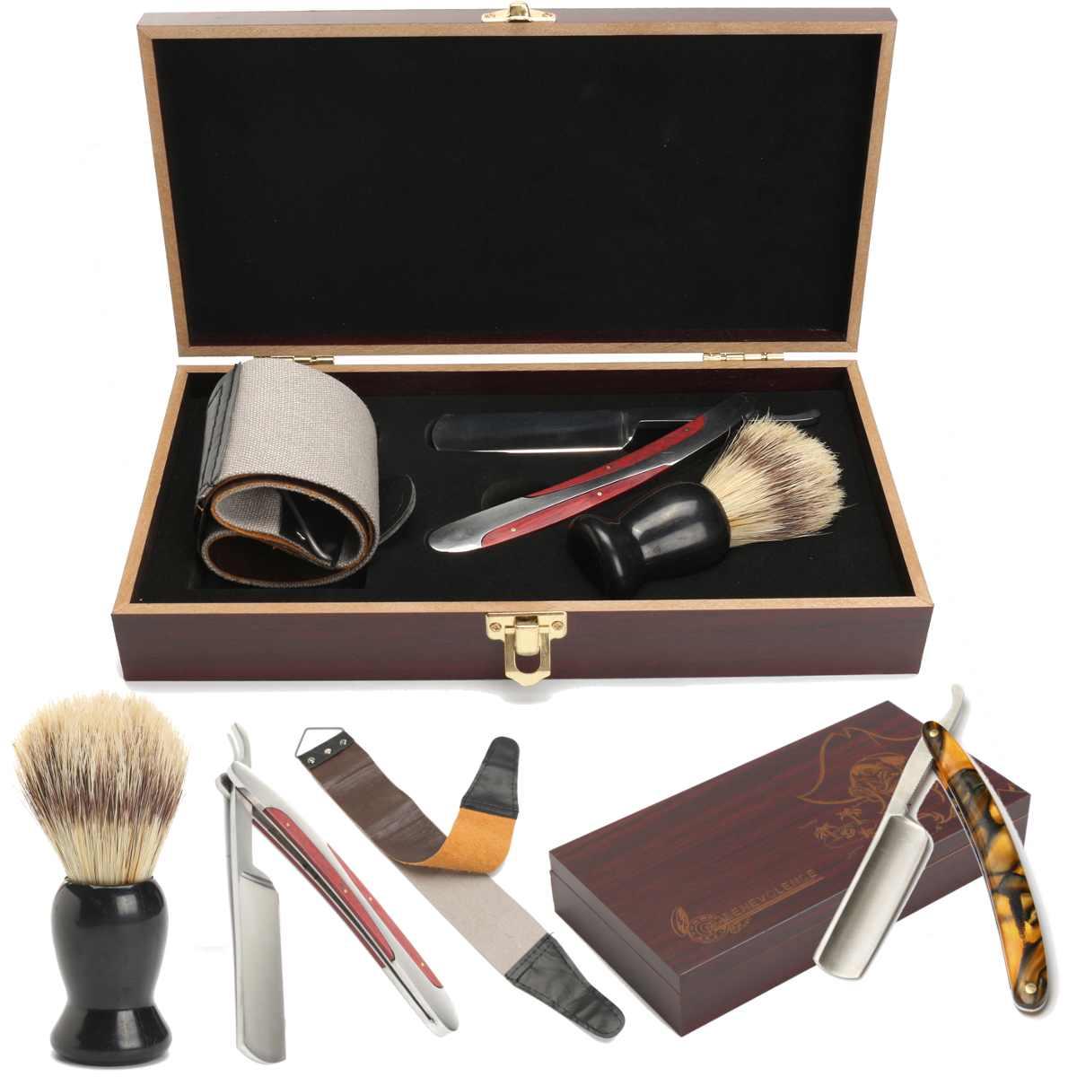 Manual de Shaver Kits com Caixa de Madeira do Vintage Presentes Titular Folding Barbear Faca Barba Barbeiro Cortador 4pcs