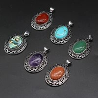 natural stone pendants antique silver amethysts turquoise crystal charms making diy handmade vintage women necklace jewelry