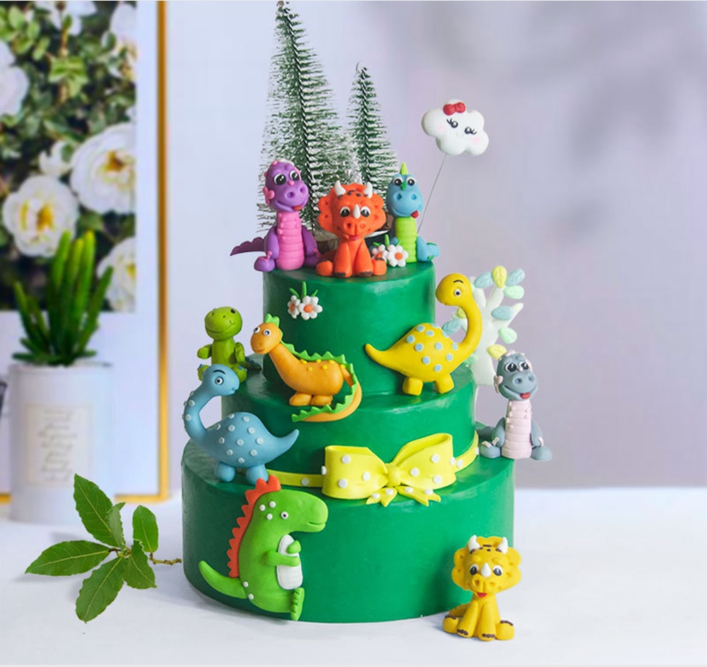 Cartoon Baby Dinosaur Cake Topper Jungle Safari Birthday Party Decor Boy Animals Jurassic World