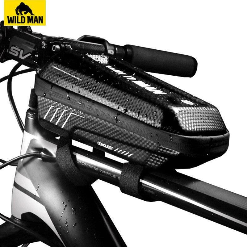 Bolso de bicicleta frontal para hombre salvaje, impermeable, a prueba de lluvia, carcasa dura Mtb, bolsa de tubo superior para bicicleta, accesorios para ciclismo, capacidad 1L