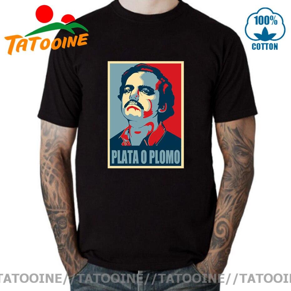 Camiseta Tatooine Pablo Escobar, camiseta para hombre de alta calidad de Plata...