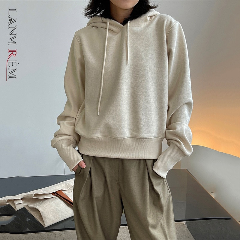 LANMREM 2021 الخريف الشتاء النسخة الكورية الجديدة بسيطة الرياضة الترفيه سميكة مقنعين فضفاض سترة دافئة النساء ملابس غير رسمية 2c371