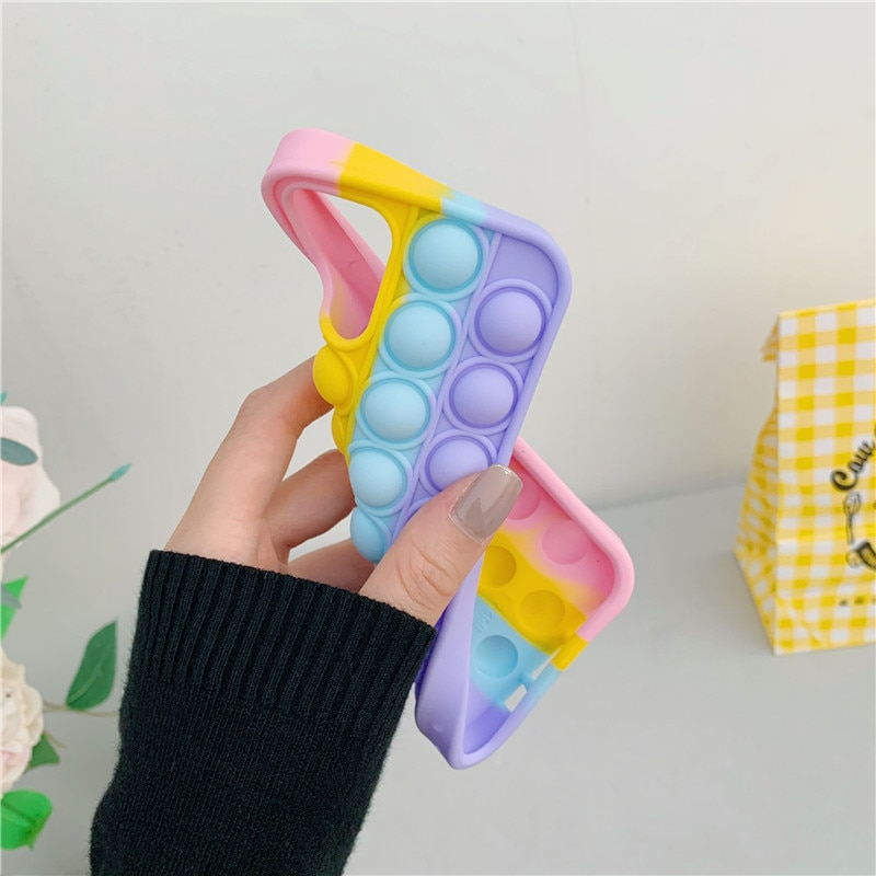 Cute Helps Stress Reliever Phone Case For iPhone 11 12 Pro XS MAX XR 6S 7 8 Plus 3D Anxiety Relief Autism Squeeze Toy Soft Cover  - buy with discount