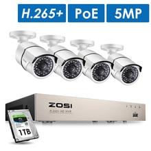 Zosi H.265 + 8CH 5MP Poe Bewakingscamera Kit 4Pcs 5MP Hd Ip Camera Outdoor Waterdichte Cctv Home video Surveillance Nvr Set