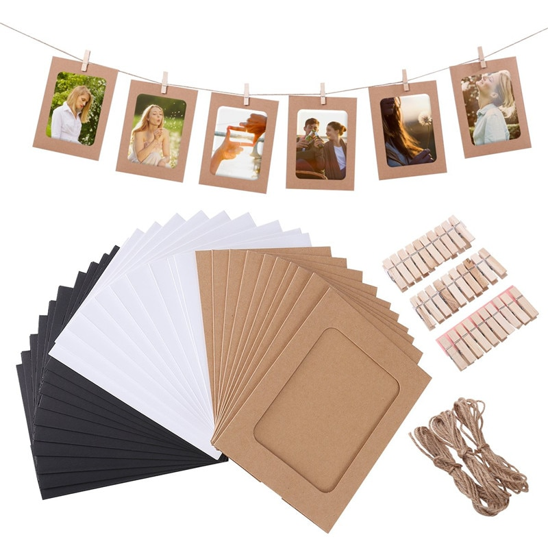 10 Pcs Combination Paper Frame with Clips DIY Kraft Paper Picture Frame Hanging Wall Photos Album 2M