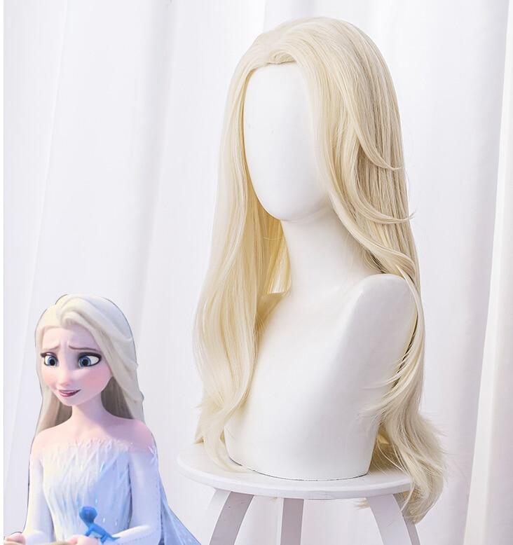 Halloween fiesta cosplay Frozen 2 Elsa peluca adulto princesa Elsa Cosplay pelucas 65cm recta resistente al calor pelucas de pelo sintético