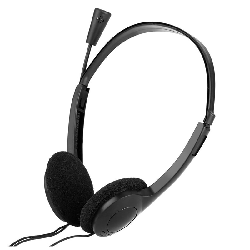 3.5mm Wired Stereo Headset Noise Cancelling Earphone with Microphone Adjustable Headband for PC Computer Laptop