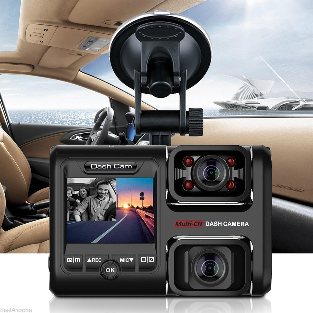 Cámara de salpicadero de 2 pulgadas para coche DVR de doble lente de visión nocturna infrarroja WiFi g-sensor HD 1080P CÁMARA DE COCHE incorporada delantera y trasera
