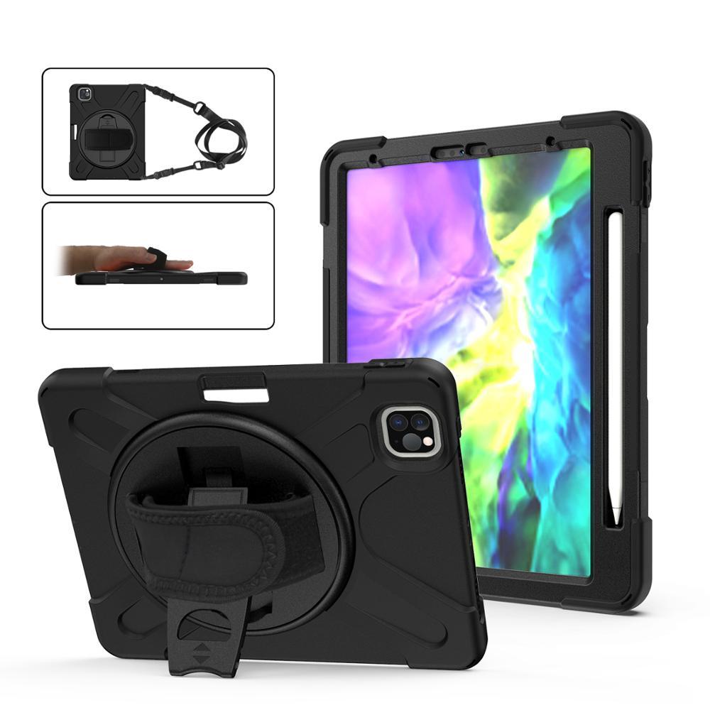 Para iPad Pro 11 A2228 A2068 A2230 A2231 2020 funda resistente PC soporte Tablet cubierta con ranura para bolígrafo + correa de mano/hombro funda