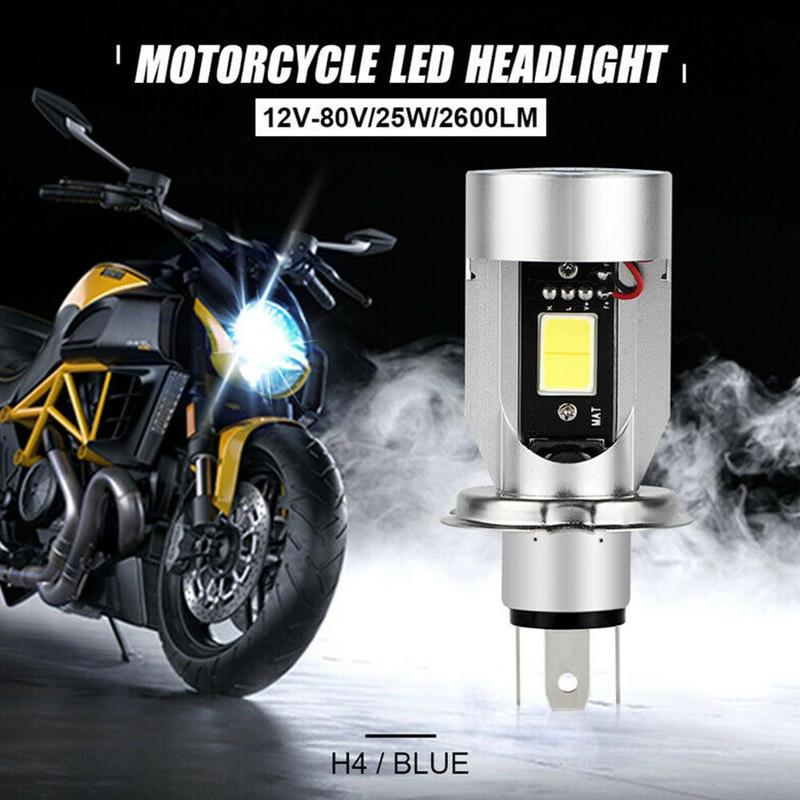 Blue Angel eye H4 LED Motorcycle Headlight 9003 Scooter Bulb Light Accessories DC Motorbike DRL 12-80V HB2 Headlamp O1A2